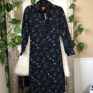 NWT XS navy floral midi shirt dress